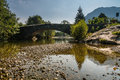 Grange bridge at the village of over the river derwent in the lake district Stock Photos
