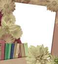 Grange education collage books flowers paper old texture grange card and one white sheet Royalty Free Stock Photography