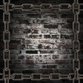 Grange metal chains on Brick Wall Stock Photography