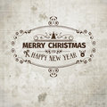 Grange retro old looking christmas card on aged stained paper with classic cardictorian floral Stock Photo