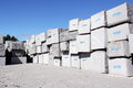 Granite blocks extracted from a quarry in portugal Stock Photo