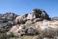 Granite boulders in hueco de san blas la pedriza spain it is a mountain where geological forces have create a remarkable Royalty Free Stock Photography
