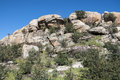 Granite boulders in hueco de san blas la pedriza spain it is a mountain where geological forces have create a remarkable Royalty Free Stock Image