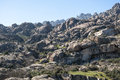 Granite boulders in hueco de san blas la pedriza spain it is a mountain where geological forces have create a remarkable Stock Images