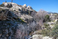 Granite boulders in hueco de san blas la pedriza spain it is a mountain where geological forces have create a remarkable Royalty Free Stock Photos