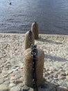 Granite columns on the banks of the Neva River Royalty Free Stock Photo
