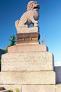 Granite  lion on the  embankment Royalty Free Stock Images