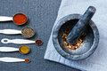 Granite mortar and pestle and spices Royalty Free Stock Photo