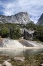 Granite mountain peak and lake Royalty Free Stock Photo