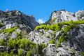Granite mountains in val di mello masino italy Royalty Free Stock Image