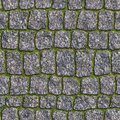 Granite sett seamless tileable texture with a young grass in the seams Stock Photo