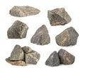 Granite stones rocks set isolated on white background Stock Images