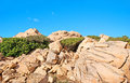 The granites maddalena archipelago that consists of group of islands in straits of bonifacio is famous for its high quality Stock Photos