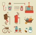 Granny icons vector set of stylized Stock Photos