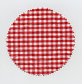 Granny jam checkered fabric cloth marmalade or Royalty Free Stock Image