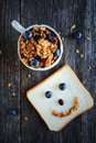 Granola with almonds and raisins. Breakfast image Royalty Free Stock Photo
