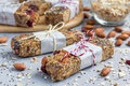 Granola bars with figs, oatmeal, almond, cranberry, chia, sunflower seeds Royalty Free Stock Photo