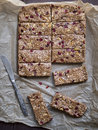 Granola bars homemade protein with peanut butter honey nuts and cranberries Stock Photo