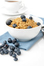 Granola with fresh blueberries Stock Photography