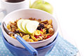 Granola with nuts and fruits Stock Photo
