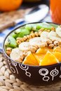 Granola with tropical fruits Royalty Free Stock Photography