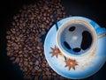 Granos de la taza y del coffe Fotografía de archivo