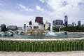 Grant park in chicago with blue sky and clouds Royalty Free Stock Photos