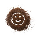 Granular coffee happy sign isolated with face Royalty Free Stock Photos