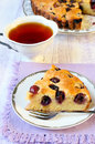 Grape cake and cup of tea Stock Photos