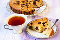 Grape cake and cup of tea Royalty Free Stock Photos