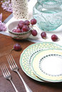 Grape and Ceramic Dishes Royalty Free Stock Image