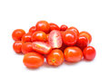 Grape or cherry tomatoes isolated on white background Royalty Free Stock Photography