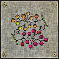 Grape clusters woodcut Royalty Free Stock Photography