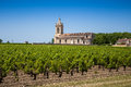 Grape field and old church behind near bordeaux the typical landscape in region in france Stock Photos
