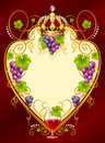 Grape frame with crown and wine glass Royalty Free Stock Photo