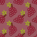 Grape seamless pattern kid s style hand drawn colored Royalty Free Stock Images