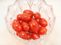 Grape tomatoes in glass dish Royalty Free Stock Photo