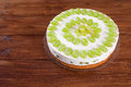 Grape torte with green grapes on cake plate Royalty Free Stock Photo