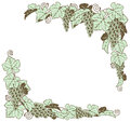 Grape vine border design a grapevine frame element in a retro woodblock or woodcut vintage print style Royalty Free Stock Photo