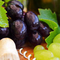 Grape and vine leaves wine background Royalty Free Stock Photography