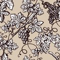 Grape vine vintage seamless vector flourish ornate pattern sketch background Royalty Free Stock Photo