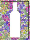 Grape wine artistic hand painted  bottle silhouette on a background of wine grapes Royalty Free Stock Photo