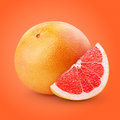 Grapefruit citrus fruit with slice clipping path Royalty Free Stock Photos