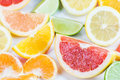 Grapefruit different citrus fruit close up Royalty Free Stock Images