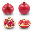 Grapefruit fresh pomegranates and half on a white background Stock Photo