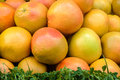 Grapefruit on market stand full frame take of fresh a street stall Stock Images