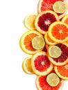 Grapefruit orange lime and lemon slices on white background Royalty Free Stock Photo