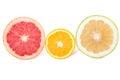 Grapefruit sweetie and orange isolated on white Stock Photos