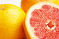 Grapefruits fresh composition of yellow and red Royalty Free Stock Photo
