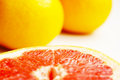 Grapefruits fresh composition of yellow and red Stock Images